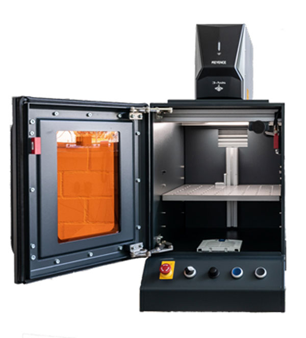 Laserschutzkabine in Schwarz mit Keyence-Laser