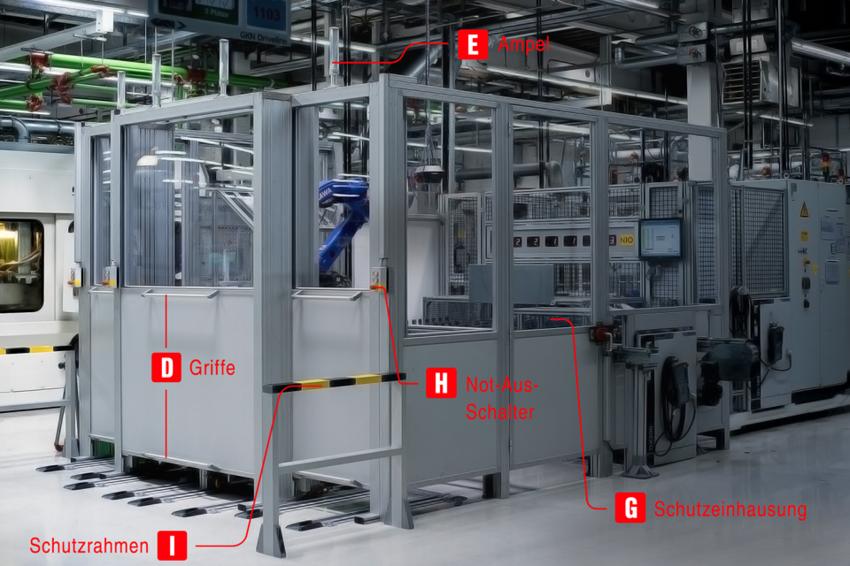 Roboter Schutzeinhausung aus Aluprofilen von item pluspartner