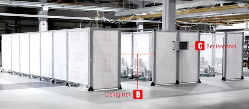 Lichtgitter und Bedienpanel